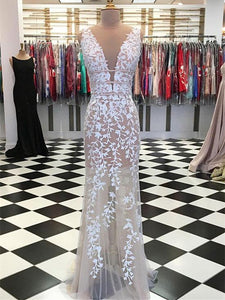 V-neck Lace Sheath See Through Prom Dresses, Affordable Prom Dresses
