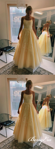 Lovely Yellow Lace Long A-line Prom Dresses, Lace Up Prom Dresses, Prom Dresses
