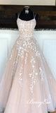 Lovely Lace Tulle Long Prom Dresses, Newest Prom Dresses, Popular Long Prom Dresses