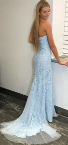 Strapless Long Mermaid Light Blue Lace Tulle Prom Dresses, Side Slit Prom Dresses, 2020 Prom Dresses, Long Prom Dresses