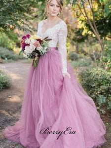 V-neck Long Sleeves Lace Top A-line Tulle Wedding Dresses