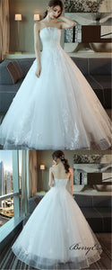 Strapless Long A-line Ivory Lace Tulle Wedding Dresses, Bridal Gown