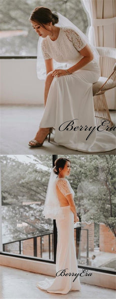 Short Lace Top Sheath Ivory Long Wedding Dresses