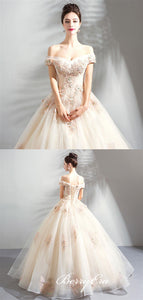 Off Shoulder Long A-line Lace Tulle Champagne Wedding Dresses