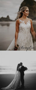 Illusion Lace Tulle Beach Wedding Dresses, Long Wedding Dresses, Romantic Bridal Gown