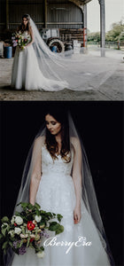 V-neck Lace Tulle A-line Wedding Dresses, Long Bridal Gown