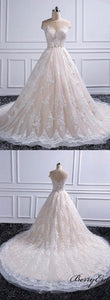 Illusion Long A-line Lace Tulle Wedding Dresses, Elegant Wedding Dresses, Bridal Gown