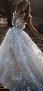 Deep V-neck Long A-line Lace Tulle Wedding Dresses, Country Wedding Dresses, Long Wedding Dresses