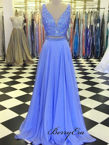 Two Pieces V-neck Prom Dresses, Chiffon A-line Prom Dresses, Luxury Beaded Prom Dresses