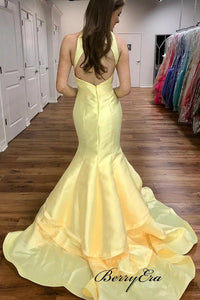 Light Yellow Satin Mermaid Evening Gowns, Unique Fashion Long Prom Dresses 2019