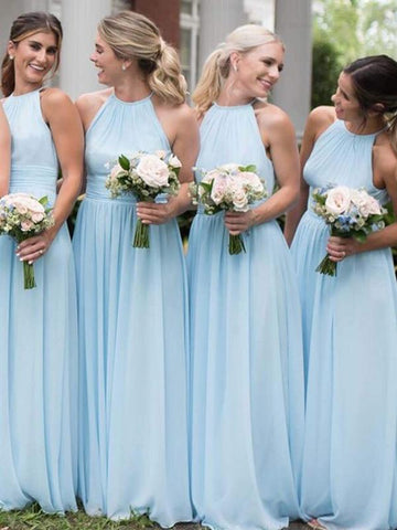 Light Blue Long A-line Chiffon Bridesmaid Dresses