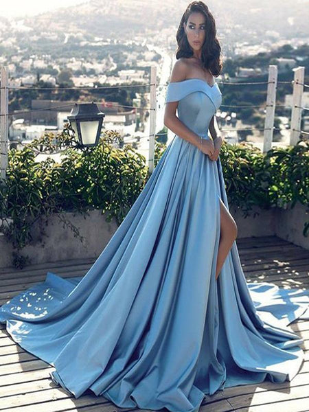 Light Blue Satin Long Side Slit Prom Dresses