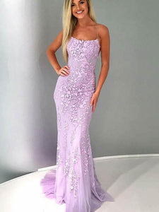 Spaghetti Lilac Lace Tulle Long Mermaid Prom Dresses
