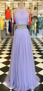 2 Pieces Lilac Lace Tulle Prom Dresses, Cheap Beaded Prom Dresses