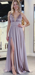 Spaghetti Long A-line Side Slit Simple Prom/Bridesmaid Dresses