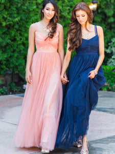 Simple Tulle A-line Bridesmaid Dresses, Bridal Party Dresses