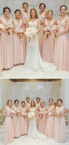 V-neck Blush Pink Chiffon A-line Bridesmaid Dresses
