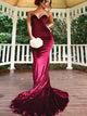 Sweetheart Long Mermaid Dark Red Velvet Bridesmaid Dresses