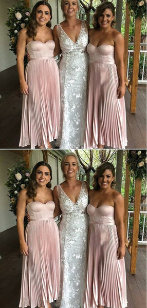 Sweetheart Blush Pink Soft Satin Bridesmaid Dresses