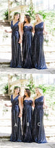 Mismatched Navy Sequin Bridesmaid Dresses, Long Bridesmaid Dresses