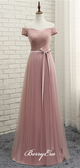 Off Shuolder Long A-line Dusty Pink Tulle Bridesmaid Dresses
