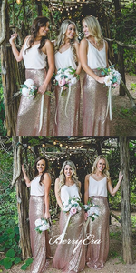 Simple V-neck Boho Style Long Sequin Bridesmaid Dresses