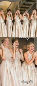 Champagne Gold A-line Stain Long Bridesmaid Dresses