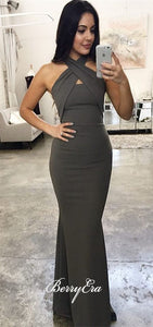 Grey Jersey Mermaid Long Bridesmaid Dresses