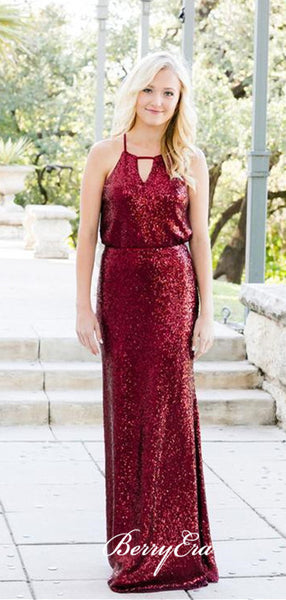 Simple Design Burgundy Sequin Long Bridesmaid Dresses, Bridesmaid Dresses
