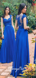 Cap Sleeves Royal Blue Lace Chiffon Bridesmaid Dresses, Long Bridesmaid Dresses