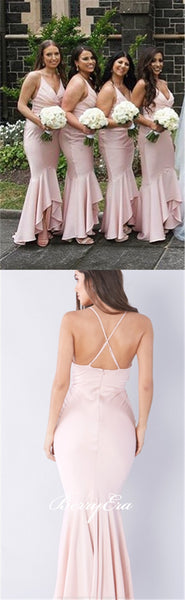 Pink Mermaid Elastic Satin Long Bridesmaid Dresses