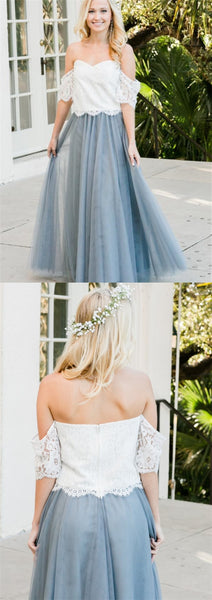 2 Pieces Lace Top Dusty Blue Long Bridesmaid Dresses