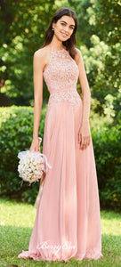 Pink Lace Top Chiffon Long Bridesmaid Dresses, Lovely Bridesmaid Dresses