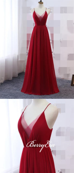 Red Chiffon Long A-line Bridesmaid Dresses, Popular Bridesmaid Dresses