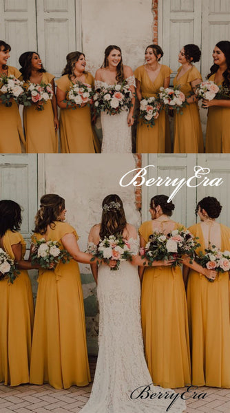 Short Sleeves A-line Ginger Yellow Chiffon Slit Bridesmaid Dresses