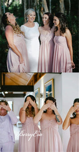 Sweetheart Log A-line Blush Pink Chiffon Long Bridesmaid Dresses