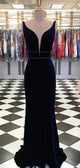 V-neck Navy Velvet Long Mermaid Beaded Prom Dresses