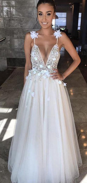 Deep V-neck Long A-line Beaded Tulle Prom Dresses