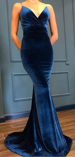 Sexy Deep V-Neck Mermaid Velvet Fancy Long Prom Dresses