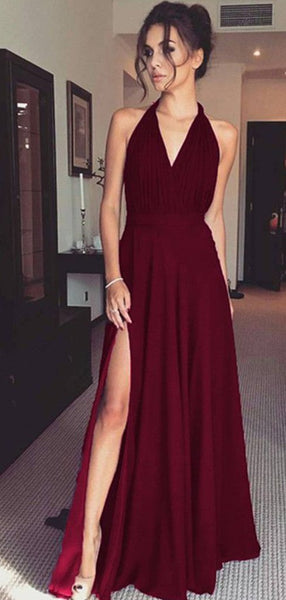 Halter Long A-line Side Slit Dark Red Prom Dresses, Bridesmaid Dresses