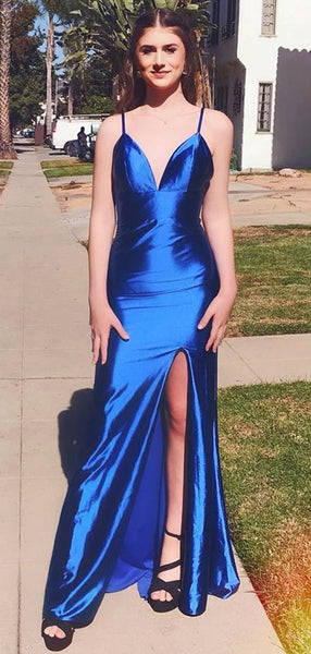 Sexy V-Neck Simple Side Slit Royal Blue Long Prom Dresses