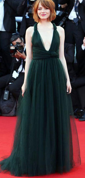Convertible Long A-line Emerald Green Tulle Prom Dresses