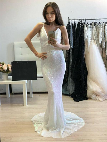 Spaghetti Long Mermaid White Sequin Prom Dresses