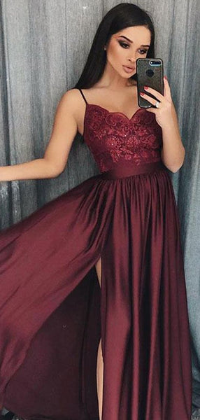 Maroon Long A-line Side Slit Lace Satin Chiffon Prom Dresses