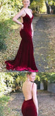 Sexy Long Mermaid Backless Velvet Prom Dresses