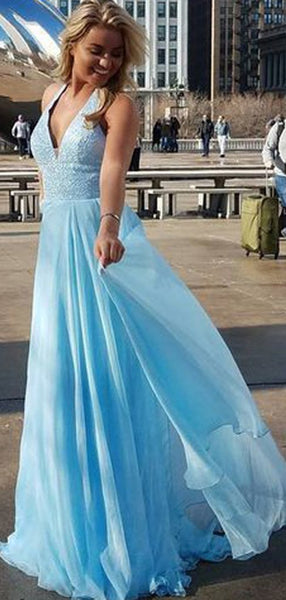 V-neck Blue Sequin Top Long A-line Chiffon Prom Dresses