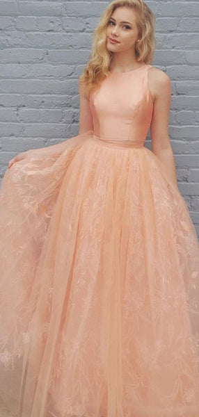 2 Pieces Peach Satin Top Lace Skirt Long Prom Dresses