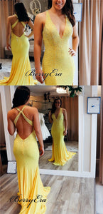 V-neck Long Mermaid Yellow Jersey Beaded Prom Dresses, Newest Prom Dresses