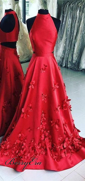 Halter Long A-line Red Satin Prom Dresses, Floral Prom Dresses, Prom Dresses