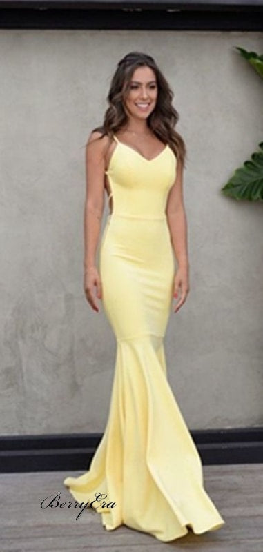 bed2cd35b7 ... Simple V-Neck Long Mermaid Yellow Jersey Prom Dresses Cheap Prom Dresses  ...